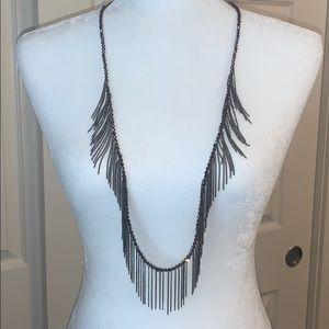 Long Fringe & Bead Necklace